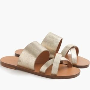 J.Crew Bali Dusted Gold Leather Strappy Sandals